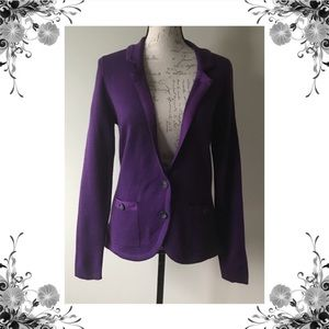 {Halogen} Purple Wool Blend Knit Sweater Blazer